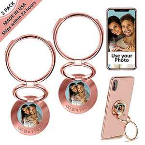 OOBUTTON USA - Custom Cell Phone Ring Holder, Add Your Own Photo and Design Personalized Cell Phone Holder for iPhone 12 11 Pro Xs Max XR 8 7 6 Plus,Finger Kickstand 360° Rotation, Made in USA(2 Pack)
