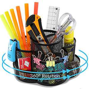 Rotating Desktop Organizer Pen Holder,Art Supply Stationary Organizer Pencil Storage for Desk,Multi-Functional Mesh Metal Marker Holder,360-Degree Rotating Organizer Caddy for Office Home School Teacher Supplies with 7 Compartments