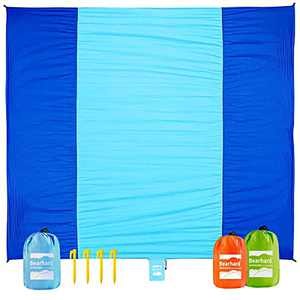 """Bearhard Sand Free Beach Blanket Sandproof, Extra Large Oversized 75""""x115"""" for 5 Adults Beach Mat, Soft Comfortable Quick Drying Lightweight Compact with 4 Stakes, Blue"""
