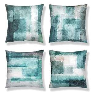 Aroniko Throw Pillow Covers 18x18 Set of 4 Decorative Cushion Cover Turquoise Contemporary Abstract Art Painting Pillow Cases for Sofa Couch Bedroom Living Room Farmhouse Home Décor, Teal Grey