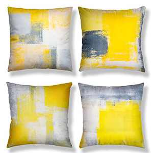 Aroniko Throw Pillow Covers 18x18 Set of 4 Decorative Cushion Cover Contemporary Abstract Art Painting Pillow Cases for Sofa Couch Bedroom Living Room Farmhouse Home Décor, Yellow Grey