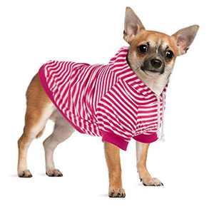 Hozz Dog Hoodie Pet Sweatshirt Clothes Doggie Sweater Pajamas with Hat Striped Rose Red M