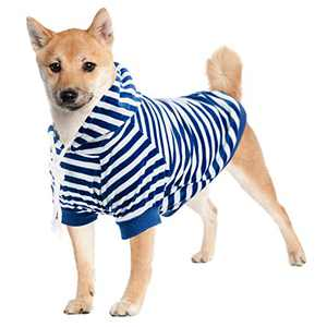 Hozz Dog Hoodie Pet Sweatshirt Clothes Doggie Sweater Pajamas with Hat Striped Blue M