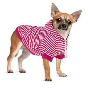 Hozz Dog Hoodie Pet Sweatshirt Clothes Doggie Sweater Pajamas with Hat Striped Rose Red L