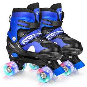 Hawkeye Roller Skates for Kids with Light Up Wheels, Adjustable Roller Skates for Boys and Girls