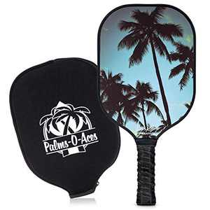 Graphite Pickleball Paddle with Cover - Toray T700 Carbon Fiber Face with Honeycomb Core for Lightweight Power and Control - Quiet Pickle Ball Paddle with UV Printed Graphics (The Palms)