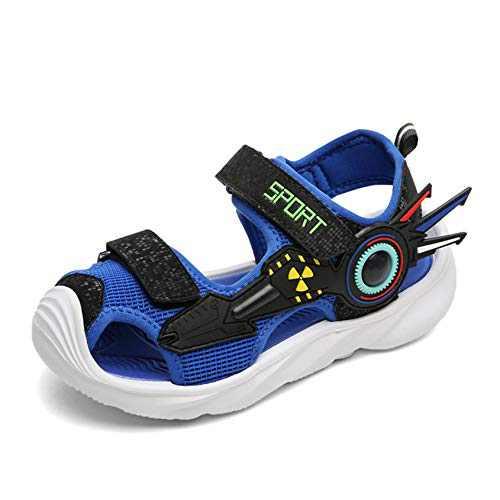 UBFENL Boys Girls Sandals Summer Closed-Toe Beach Sport Outdoor Non-Slip Kids Water Shoes Blue, 1 Big Kid