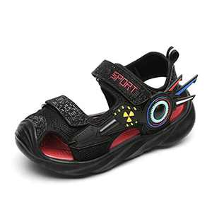UBFEN Boys Girls Sandals Summer Closed-Toe Beach Sport Outdoor Non-Slip Kids Water Shoes Black/Red