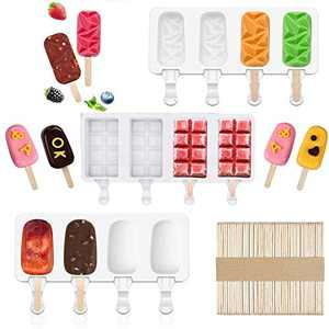 Silicone Popsicle Molds Set - Ice Pop Mold Silicone 3 Pack 4 Cavity Reusable Homemade Ice Cream Mold with 50 PCS Wooden Sticks, for DIY Popsicles, Ice Cream, Candies, Ice Cubes