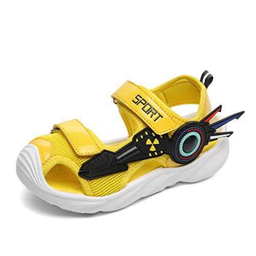 UBFEN Boys Girls Sandals Summer Closed-Toe Beach Sport Outdoor Non-Slip Kids Water Shoes Yellow