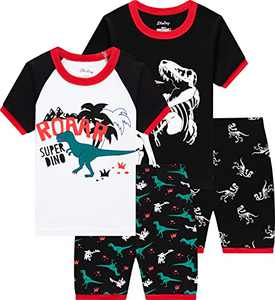 Boy Dinosaurs Pajamas Summer New Cool T-rex Pjs Cool Kids Clothes 4 Pieces Short Sets Size 6 Years