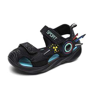 UBFEN Boys Girls Sandals Summer Closed-Toe Beach Sport Outdoor Non-Slip Kids Water Shoes Black Blue