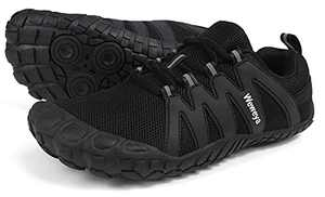 Weweya Barefoot Trail Running Shoes Women Minimalist Barefoot Zero Drop Hiking Fitness Trekking Gym Wide Breathable Toes Five Fingers Workout Sneakers Black US Size 10