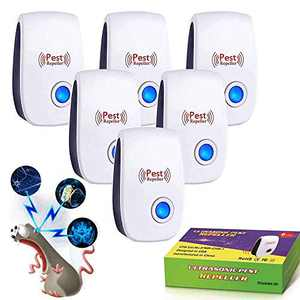 Ultrasonic Pest Repeller 6 Packs, 2021 Upgraded Electronic Pest Repeller Plug in Indoor Pest Repellent for Mosquito, Insects, Cockroaches, Mouse, Rats, Bug, Spider, Ant, Human and Pet Safe
