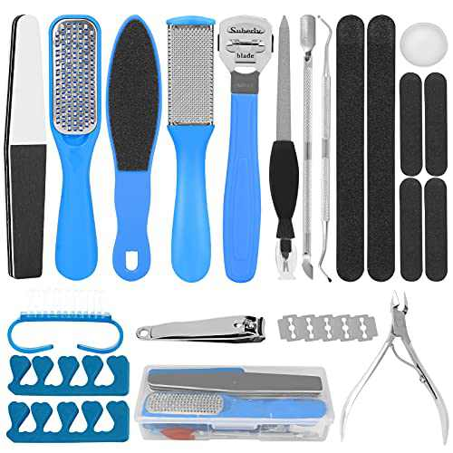 WIOR Pedicure Kit, 20 in 1 Professional Pedicure Tools with Soreage Box Stainless Steel Foot Care Kit for Dry Skin Corn Callus and Dead Skin Remover Foot Spa for Men Women Salon or Home Use(Blue)