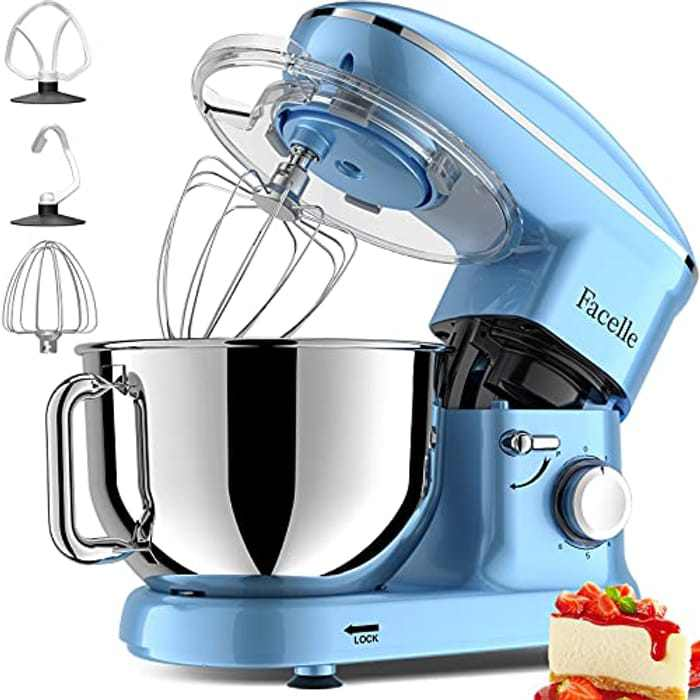Facelle Stand Mixer, 1500W 6-Speed Tilt-Head Food Mixers Cake Mixer Kitchen Electric Stand Mixer with 5.8QT Stainless Steel Bowl, Dough Hook, Flat Beater, Whisk, Splash Guard, for Baking (Blue)