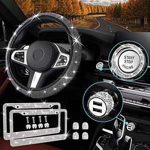 9Pack Bling Car Accessories Set for Women Girls Includes Soft Universal 14-14.8 inches Diamond Steering Wheel Cover Bling Car USB Charger, Crystal Valve Stem Caps,Sparkly Ring for Start Button