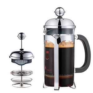 2021 Upgrade French Press Coffee Maker 12 OZ ,EAXCK 304 Stainless Steel Coffee Press 4 Level Filtration System,Heat Resistant Thickened Borosilicate Glass,Durable Easy Clean,100% BPA Free (12 OZ)