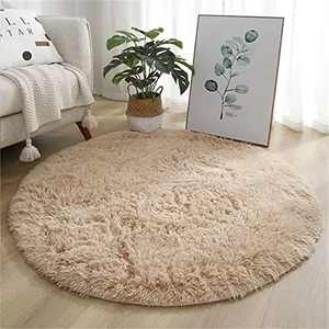 Fluffy Rug for Bedroom,Soft Round Area Rugs for Living Room,Circle Chenille Rugs for Girls Bedroom,Cute Shaggy Circular Carpet for Kids Teens Girls Baby ,4 x 4 Feet