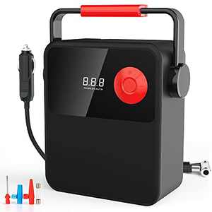 Tire Inflator Air Compressor, DC 12V Portable Tire Inflator with Digital Display, Electric Tire Pump with Handle, Air Pump for Car Tire, Bicycle and Other Inflatables