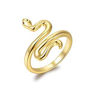 Snake Ring for Women, Simple Cute Gold Snake Animal Finger Jewelry, Adjustable Open Ring Size 6 to 10.