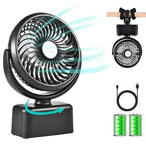 Stroller Fan, Portable 5000mAh Rechargeable Fan Battery Powered Desk Fan with Flexible Tripod, 3 Speed, 360° Rotatable, Handheld Personal Fan for Car Seat Crib Bike Treadmill