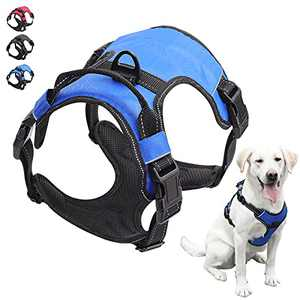SonneMond Dog Harness for Large Dogs No Pull - No Choke Front Lead Dog Reflective Harness with 4 Snap Buckles - Adjustable Soft Padded Dog Vest with Easy Control Handle (Blue, L)