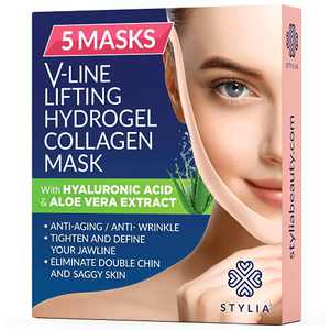 5 Piece V Line Shaping Face Masks – Lifting Hydrogel Collagen Mask with Aloe Vera – Anti-Aging and Anti-Wrinkle Band - Double Chin Reducer Strap - Contouring, Slimming and Firming Face Lift Sheet