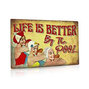 Putuo Decor Pool Rules Sign, Indoor/Outdoor Swimming Pool Decorations, 12x8 Inches Aluminum Metal Sign - Life is Better by The Pool