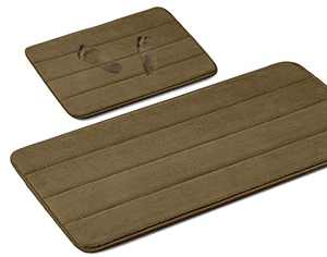 """2 Pack Memory Foam Bath Mat Set, Non Slip Bathroom Rugs, Toliet Mats with Super Water Absorbency, Machine Washable Bath Rugs for Bathroom and Kitchen Floor (Coffee, 24""""x 16"""" &47"""" x 16"""")"""