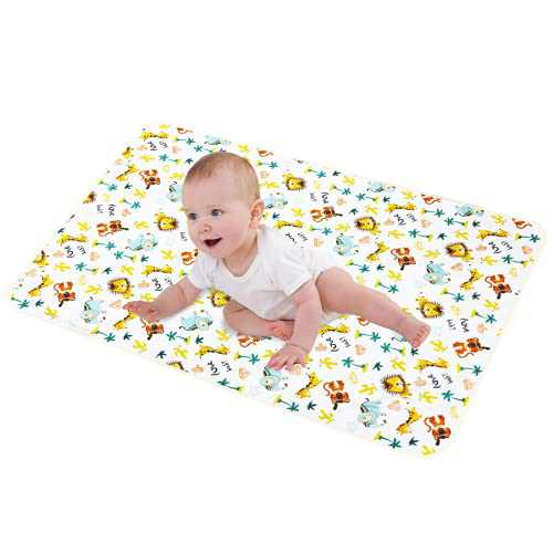 """LANEYLI Portable Changing Pad for Baby Diaper Changing Pad Washable Breathable Leak Proof Changing Mat for Diaper Bag Home Travel Bed Play Stroller Crib Car Yellow(19.7"""" x 27.5"""")"""