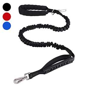 SonneMond 6Ft Bungee Dog Leash for Large Breed Dogs, Tactical Dog Leash, Black Reflective Shock Absorbing Leash with Soft Padded Handle and Traffic Handle for Control Safety and Military Training
