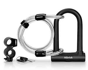 Heavy Duty Bike U Lock with 4ft Cable + Mounting Holder + 3X U-Lock Keys