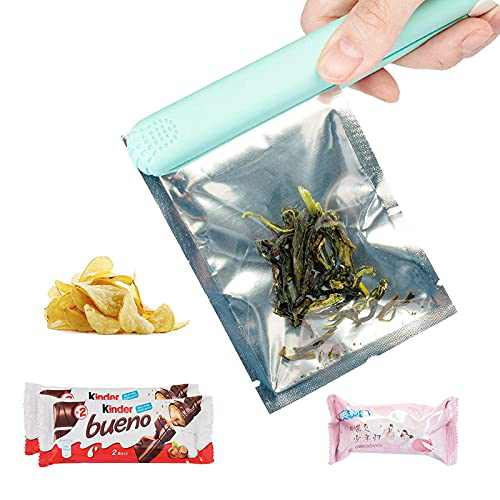 Mini Bag Sealer Heat Seal, Portable Handheld Food Sealer Bag Resealer for Airtight Food Storage,Plastic Bags, Mylar Bags, Snack Bags Chips Bag with 43 inch Power Cable-BLUE
