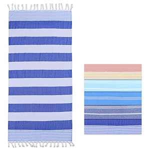 """A·M CAT Turkish Beach Towel (67"""" x 36"""") Oversized Clearance Large Blanket 100% Cotton - Prewashed, Sand Free, Quick Dry, Super Soft - for Bath, Beach, Pool, SPA, Gym (Blue)"""