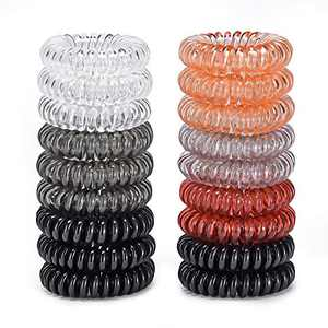18 Pack Hair Ties,Coil Hairband,Multi Color Waterproof Phone Cord Hair Bands, No Crease Spiral Hair Elastics