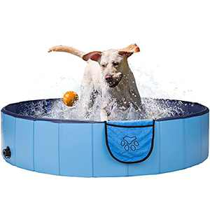 Gibot Foldable Dog Pool Dog Swimming Pool - 47.2 x 11.8inch Plastic Kiddie Pool Bathing Tub Kiddie Pool for Dogs Cats and Kids with Pets Towel