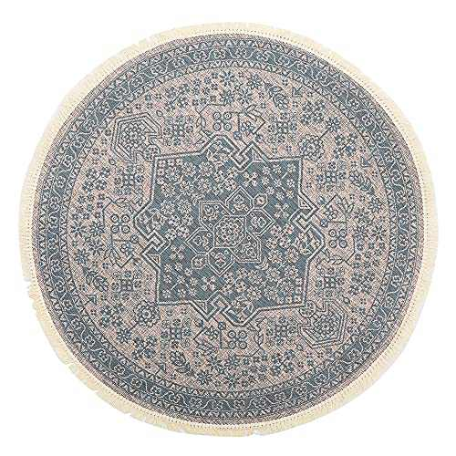 GEVES Teal Boho Chic Medallion Distressed Area Rug Retro Round Rugs with Tassels for Living Room Bedroom Carpet Floor Mat Easy to Clean Boho Decor