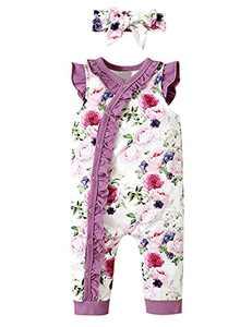 Shalofer Summer Outfits Baby Girls Floral Romper Toddler Ruffles Sleeveless Bodysuit (Purple,12-18 Months)