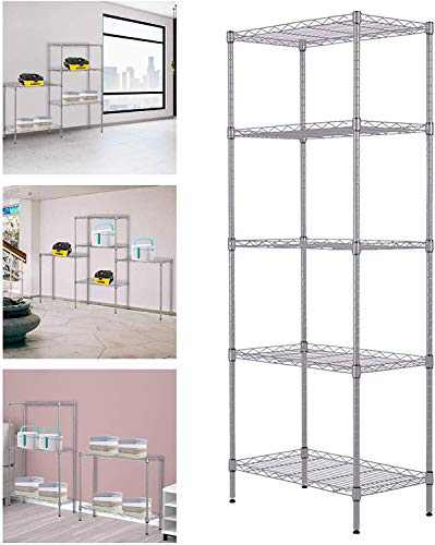 5 Tier Wire Shelving Unit,Changeable Heavy Duty Storage Metal Shelves,Garage Storage Rack, Steel Organizer Rack for Home Office (Silver)