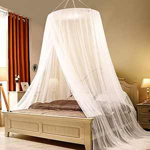 Skyteelor Net for Bed, Bed Canopy with 100 led String Lights Large Size White