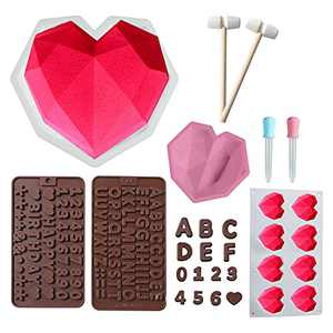 Diamond Heart Shaped Silicone Cake Mold, 8PCS Heart Molds for Chocolate, 8.7 inch Breake Heart Mould with Wooden Hammers, Chocolate Letter Number Molds for Home Kitchen DIY Baking Tool