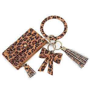 ECOSUSI Wristlet Keychain Key Ring Bracelets Card Holder Purse with Tassel
