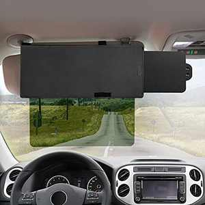 Polarized Sun Visor for Car, Veharvim UV400 Car Sun Visor Extension with Polycarbonate Lens and Side Sunshade, Anti-Glare Protects from Sun Glare, UV Rays, Foggy day, Universal for Cars, SUVs