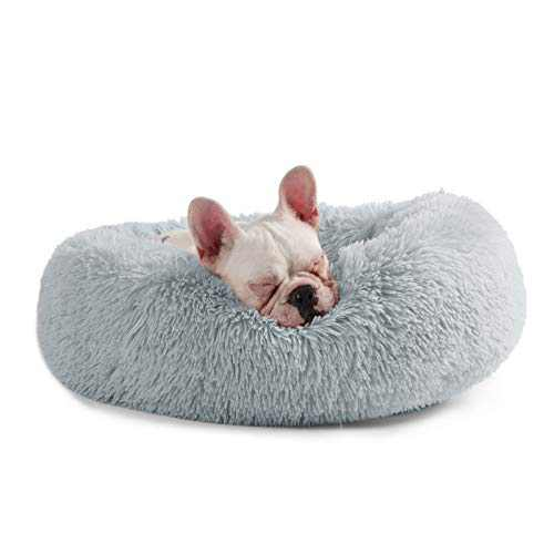 Veehoo Plush Sofa Orthopedic Dog Bed - Calming Donut Cuddler Pet Beds, Soft Comfortable Round Cat Beds Washable Faux Fur Beds, 23x23 inch, Grey