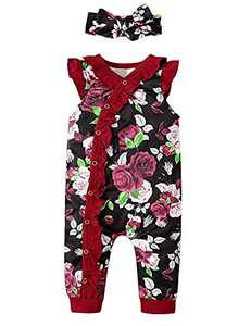 Shalofer Summer Outfits Baby Girls Floral Romper Toddler Ruffles Sleeveless Jumpsuit (Wine Red,12-18 Months)