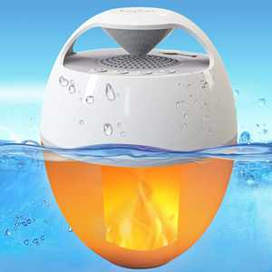 Portable Bluetooth Speaker with Flame Lights,KingSom Floating Pool Speaker IP68 Waterproof Speaker,Rich Bass,HD Stereo Sound,Hands-Free Wireless Hot Tub Speaker for Shower Home Spa Outdoor
