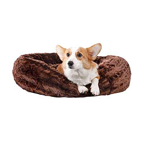 Veehoo Plush Sofa Orthopedic Dog Bed - Calming Donut Cuddler Pet Beds, Soft Comfortable Round Cat Beds Washable Faux Fur Beds, 23x23 inch, Chocolate