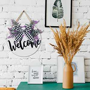 Winder Welcome Sign Front Door Wall Decor Rustic Farmhouse Round Wooden Hello Hanger Outdoor Garden Yard Summer Gift for Grandmother Porch Wreath Vertical Notching House Warming Present Decoration