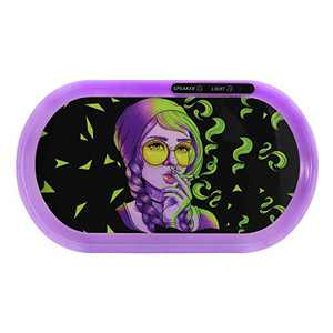 """BOUNOUS Bluetooth Speaker LED Rolling Tray, The Light Up Rolling Glow Tray with 7-Color Light Up Party Mode, Lights Flashing with Music, Echargeable Battery Glow Tray, Purple Girl, 13.8"""" X 7.9"""""""